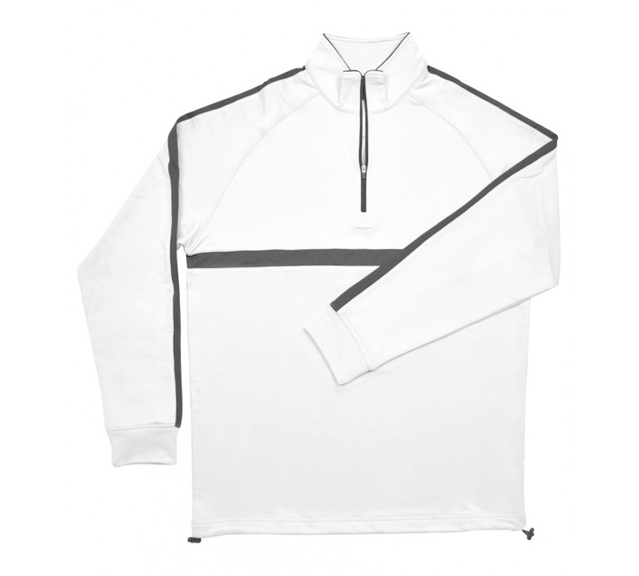 DUNNING CHEST STRIPE THERMAL 1/4 ZIP PULLOVER WHITE - SS16