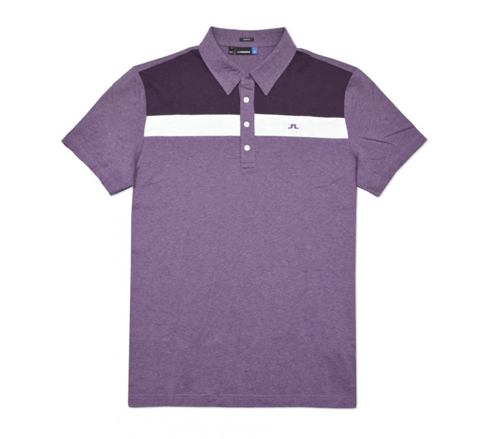 J. LINDEBERG CORY LUX JERSEY POLO DARK PURPLE MELANGE - SS16