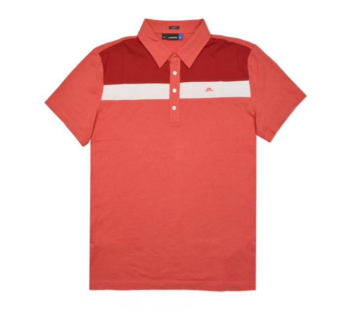 J. LINDEBERG CORY LUX JERSEY POLO RED MELANGE - SS16