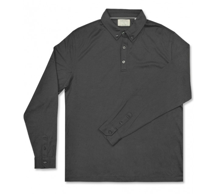 LINKSOUL INNOSOFT COTTON INTERLOCK LS POLO GRAPHITE - AW16