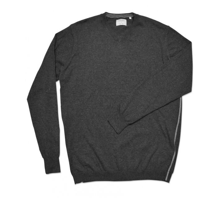 LINKSOUL COTTON V-NECK SWEATER BLACK HEATHER - SS16
