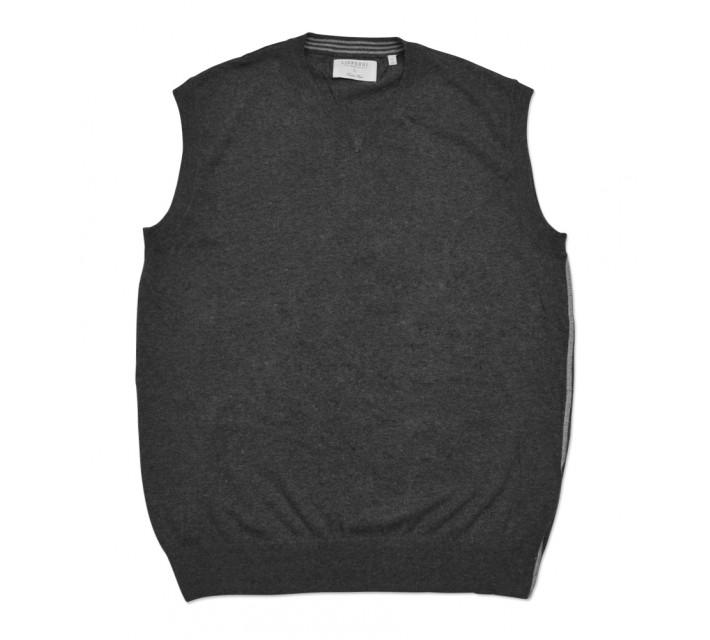 LINKSOUL COTTON V-NECK SWEATER VEST BLACK HEATHER - SS16