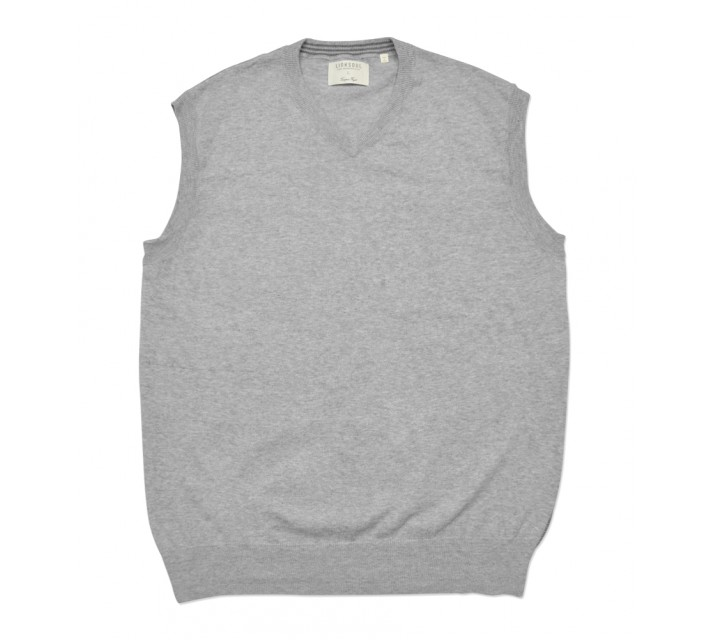 LINKSOUL COTTON V-NECK SWEATER VEST LIGHT GREY HEATHER - SS16