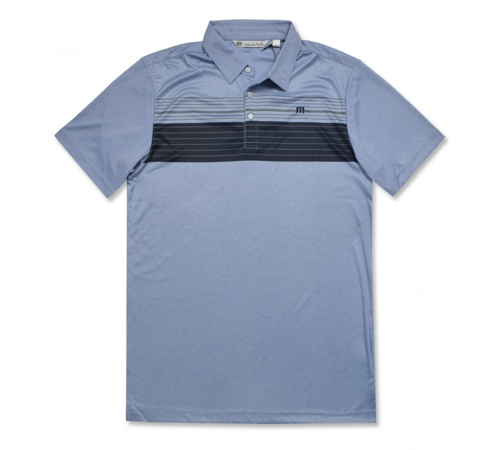 TRAVISMATHEW COX GOLF POLO BRILLIANT BLUE/MICROCHIP - AW16