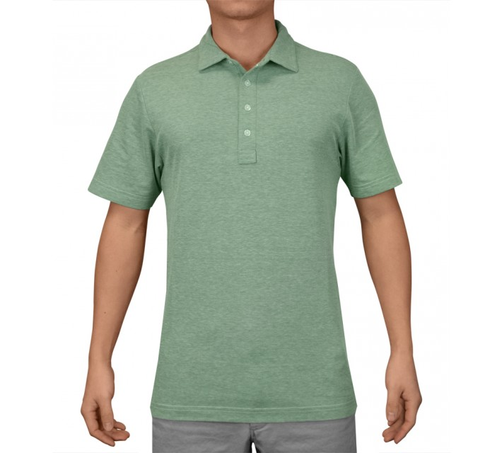 TRAVISMATHEW GOLF SHIRT CRENSHAW HEATHER BOSPHOROUS GREEN - AW16