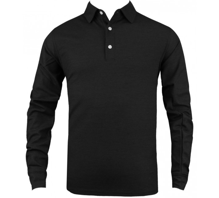 DUNNING HEATHERED LS STRETCH PIQUE POLO BLACK - SS16