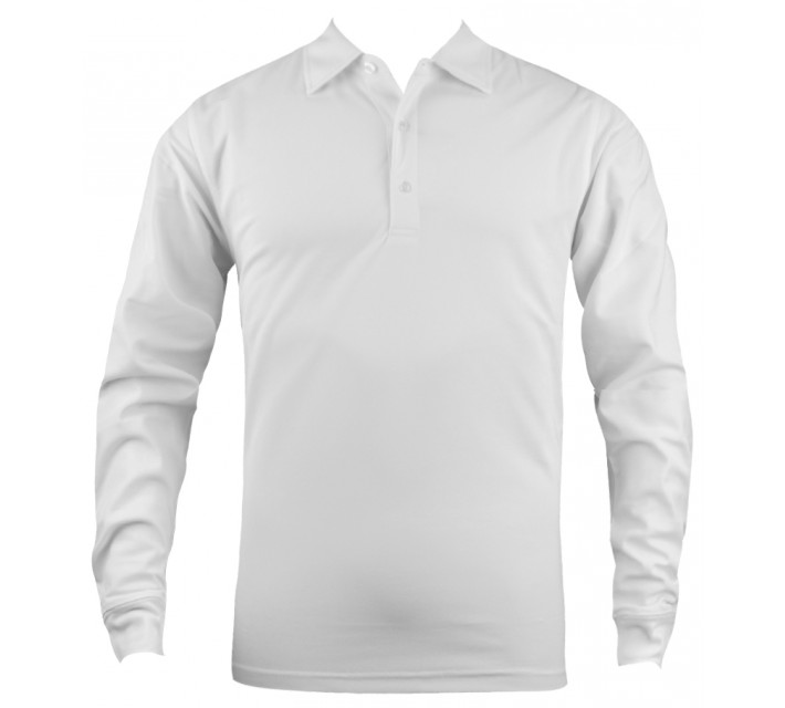 DUNNING HEATHERED LS STRETCH PIQUE POLO WHITE - SS16