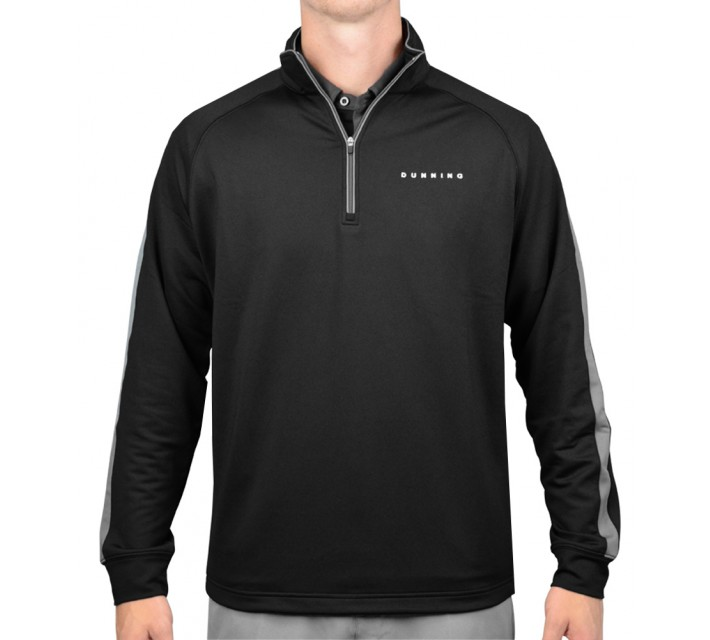 DUNNING THERMAL STRIPE 1/4 ZIP PULLOVER BLACK - AW15