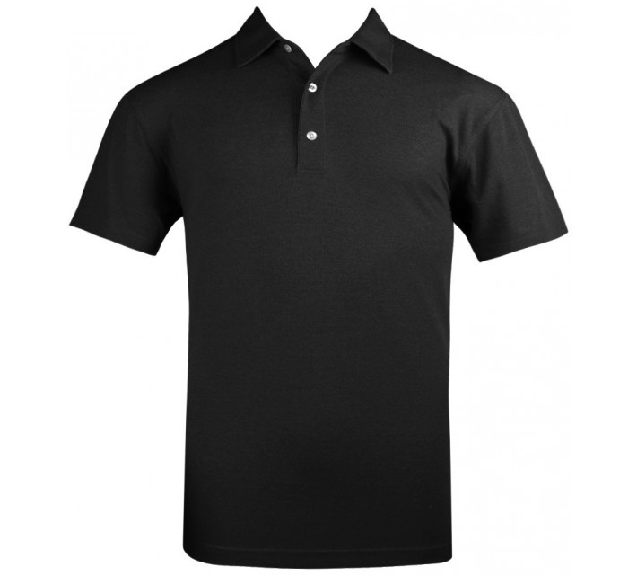 DUNNING HEATHERED STRETCH PIQUE POLO BLACK - AW15