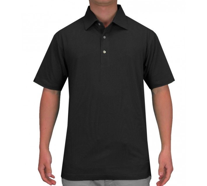 DUNNING HERITAGE PERFORMANCE COTTON POLO BLACK - SS15