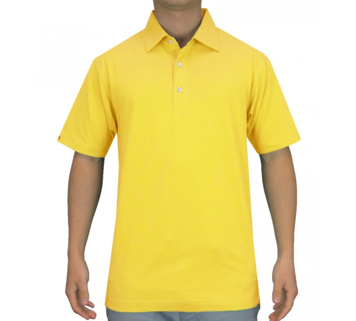 DUNNING HERITAGE PERFORMANCE COTTON POLO BELLS YELLOW - SS15