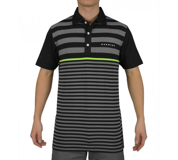 DUNNING CONTRAST STRIPE YD JERSEY POLO BLACK COMBO - SS15