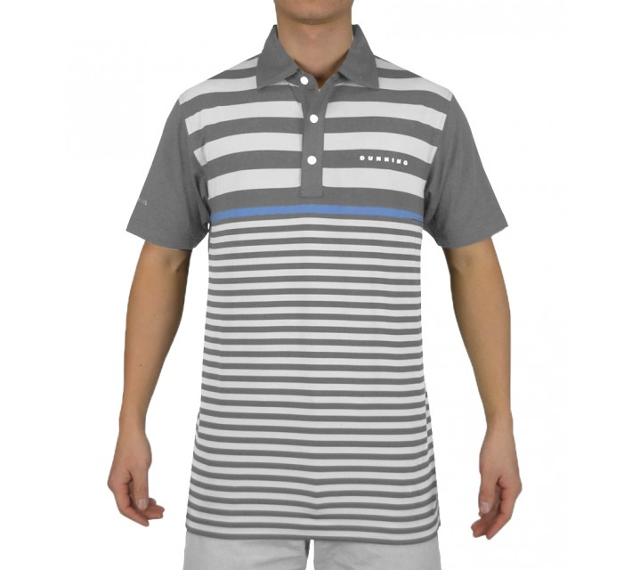 DUNNING CONTRAST STRIPE YD JERSEY POLO CHARCOAL COMBO - SS15