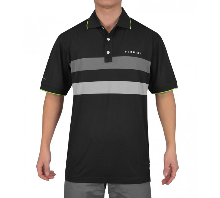 DUNNING DOUBLE STRIPE YD PIQUE POLO BLACK COMBO - SS15