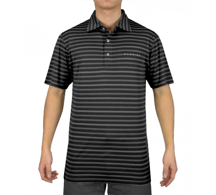 DUNNING TWO TONE STRIPE PIQUE POLO BLACK COMBO - SS15