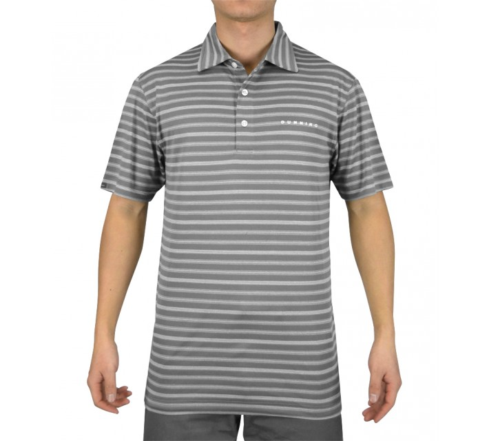 DUNNING TWO TONE STRIPE PIQUE POLO CHARCOAL COMBO - SS15
