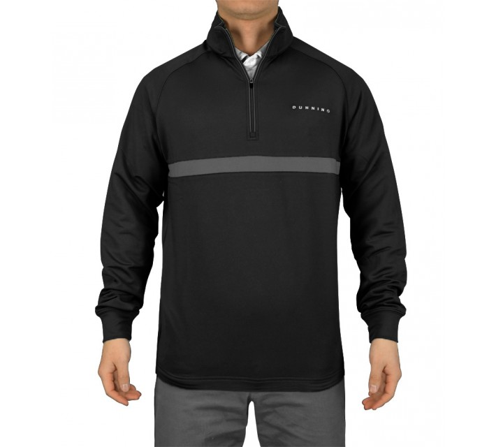 DUNNING THERMAL STRIPED 1/4 ZIP PULLOVER BLACK - SS15