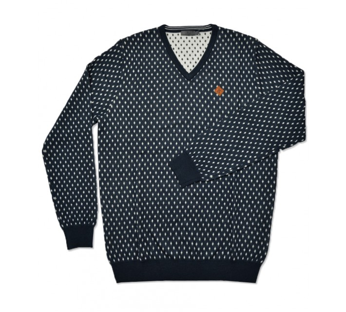CROSS DOT V-NECK SWEATER NAVY - AW16