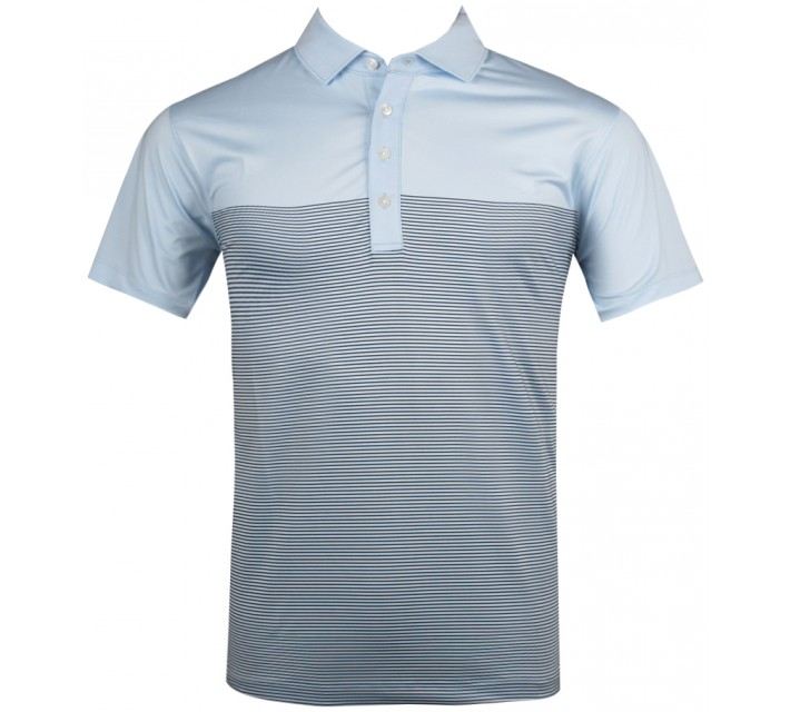 MATTE GREY DROP STRIPE POLO LT BLUE - SU13
