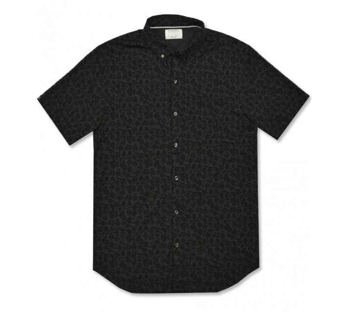 LINKSOUL DRY-TECH BUTTON DOWN SHIRT BLACK FLORAL - AW16