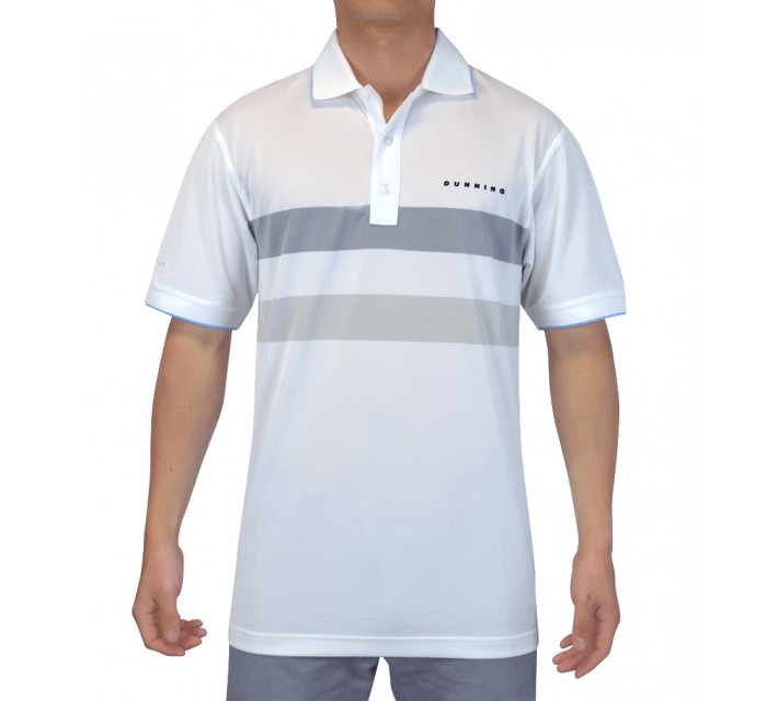 DUNNING DOUBLE STRIPE YD PIQUE POLO WHITE COMBO - SS15