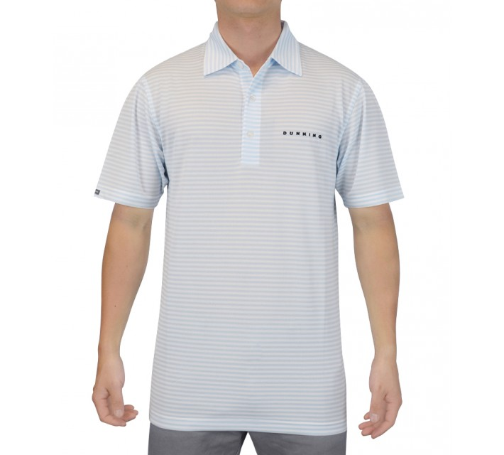 DUNNING SYMMETRICAL STRIPE YD PIQUE POLO WHITE/WAVE - SS15