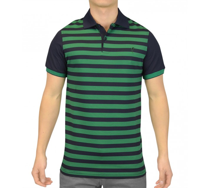 GOLFINO STRIPED EXTRA DRY JERSEY POLO NAVY - SS15