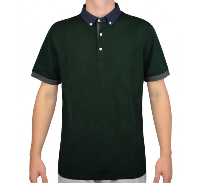 AG GREEN LABEL THE DEUCE COLOR BLOCK POLO SCOTS PINE - AW15