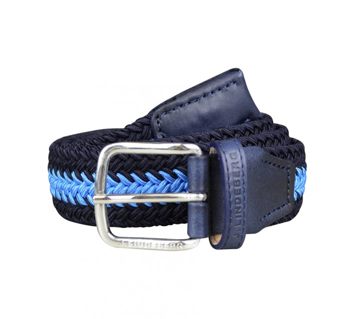J. LINDEBERG CHAP 35 STRIPED ELASTIC BRAID BELT NAVY/PURPLE - AW15