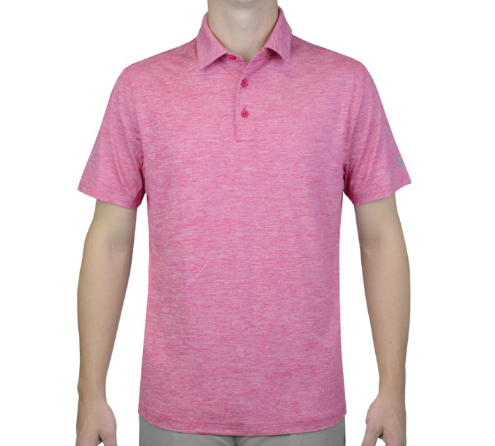 UNDER ARMOUR ELEVATED HEATHER GOLF POLO TROPICAL PINK - AW15