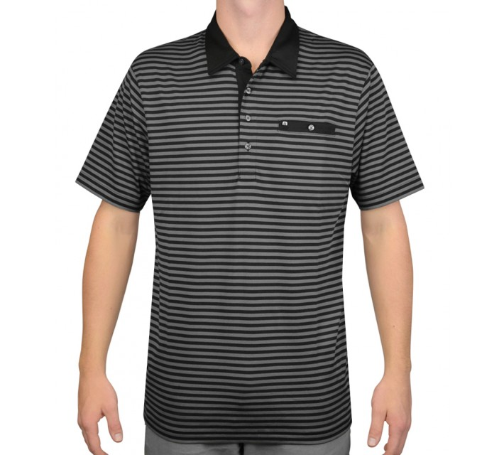 TRAVISMATHEW GOLF SHIRT EL PORTO BLACK - AW15