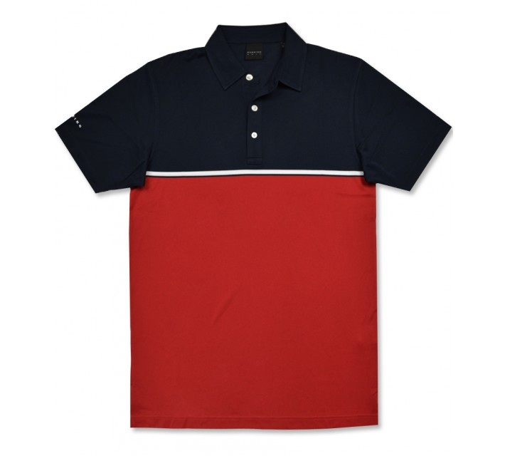 DUNNING ENGINEERED BODY STRIPED PIQUE POLO HALO/RED - AW16