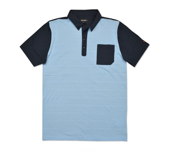 WOLSEY STAND JAQUARD BLOCK POLO SKY - SS16
