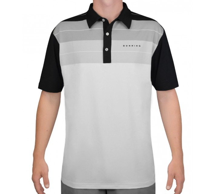 DUNNING STRETCH FADE STRIPE JERSEY POLO BLACK COMBO - AW15