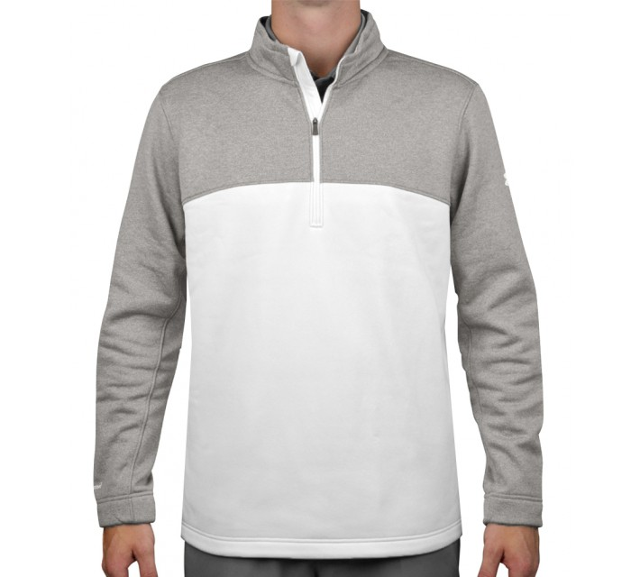 UNDER ARMOUR FLEECE INFRARED 1/4 ZIP WHITE/TRUE GREY HEATHER - SS16
