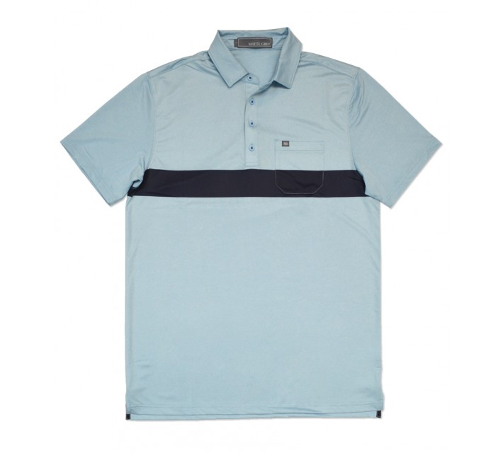 MATTE GREY GAVIN GOLF POLO BAJA BLUE HEATHER - SS16