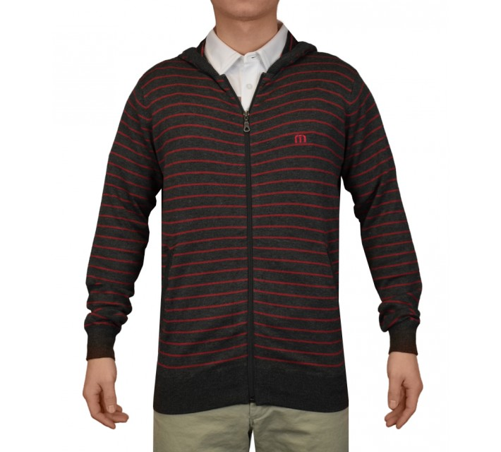 TRAVISMATHEW GILLIGAN SWEATER CARDINAL STRIPE - SS15