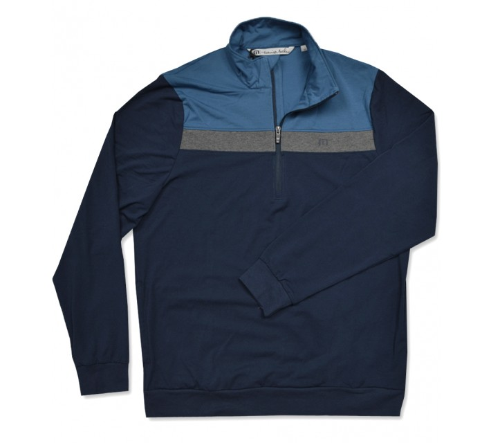 TRAVISMATHEW GILMER 1/4 ZIP PULLOVER DRESS BLUES - AW16