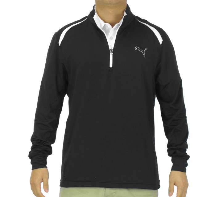 PUMA GOLF LONGSLEEVE 1/4 ZIP TOP BLACK - SS15