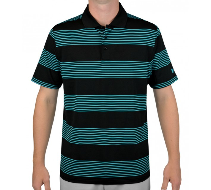 UNDER ARMOUR GRAND SLAM STRIPE GOLF POLO BLACK/PACIFIC - AW15