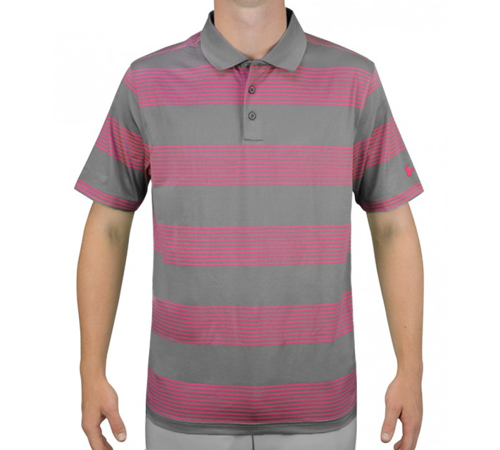 UNDER ARMOUR GRAND SLAM STRIPE GOLF POLO GRAPHITE/TROPIC PINK - AW15