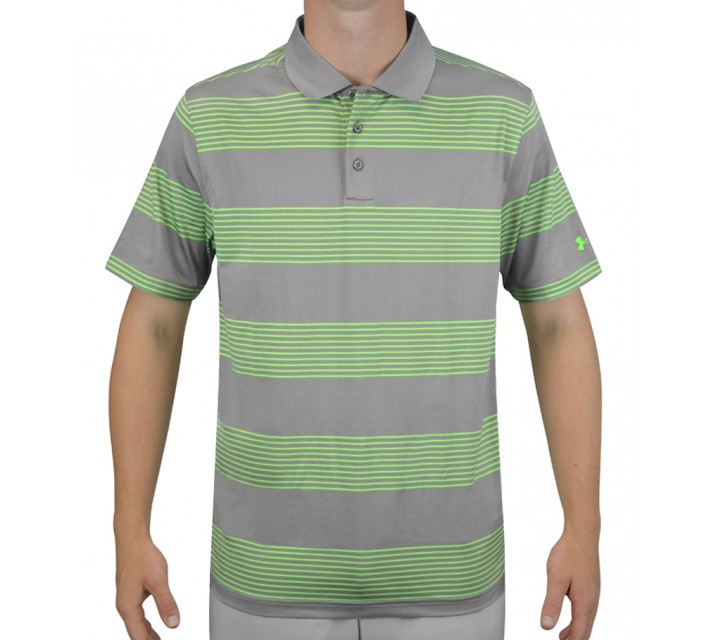 UNDER ARMOUR GRAND SLAM STRIPE GOLF POLO STEEL/POISON - AW15