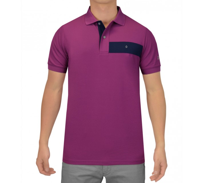 OSCAR JACOBSON GUSTAF GOLF SHIRT PURPLE - SS15