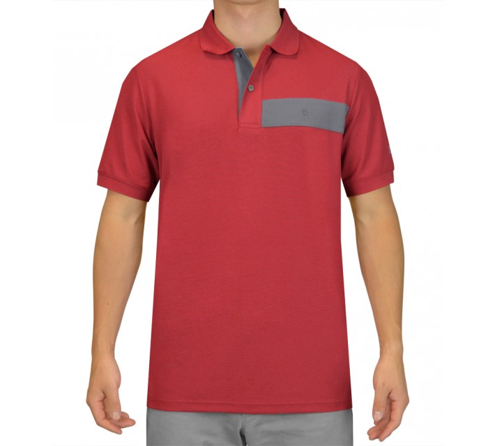 OSCAR JACOBSON GUSTAF GOLF SHIRT RED - SS15