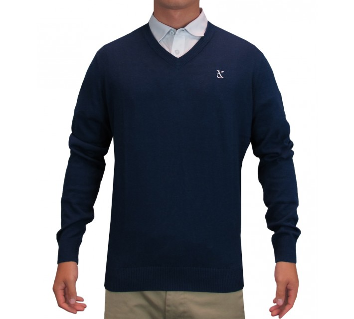 DEVEREUX HAIMES V-NECK SWEATER NAVY - SS16