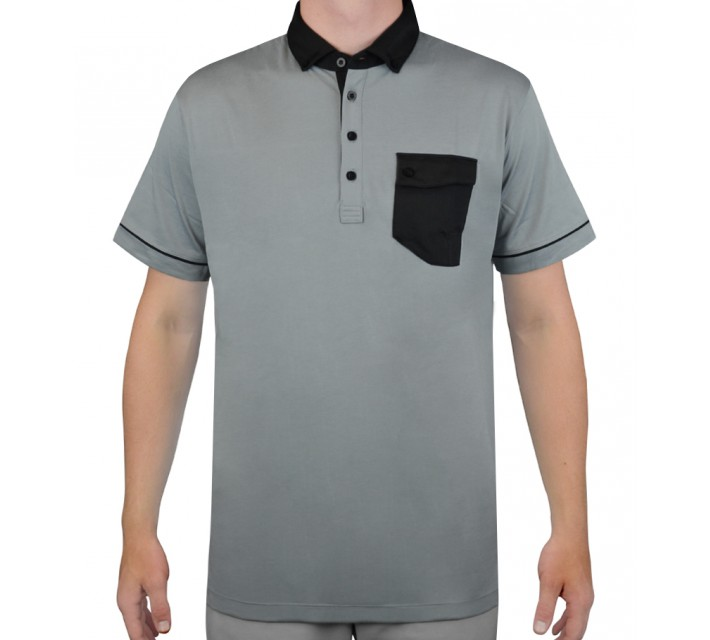 DEVEREUX HENRI GOLF POLO STEEL/CAVIAR - AW15
