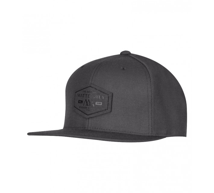MATTE GREY HEX BADGE SNAPBACK CAP DARK GREY - SS15