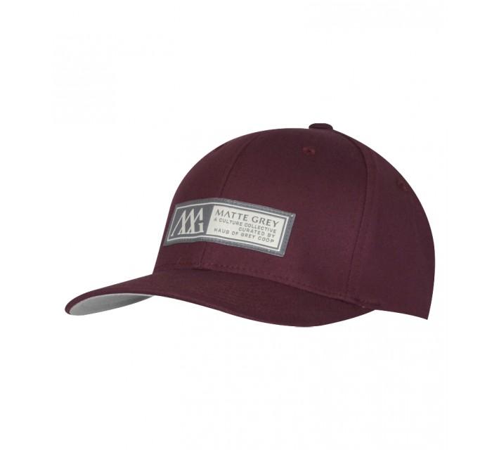 MATTE GREY HORIZON BADGE CAP MAROON - SS15