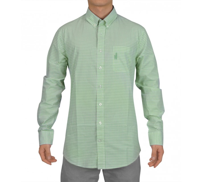 JOHNNIE-O BERNER WOVEN GINGHAM SHIRT FAIRWAY GREEN - SS15