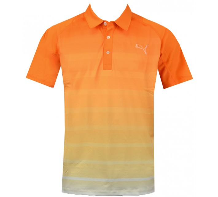 PUMA JUNIOR BOYS GT TITAN STRIPE POLO VIBRANT ORANGE - AW15